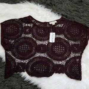 New! L.A. Hearts Crochet Crop Boxy Top